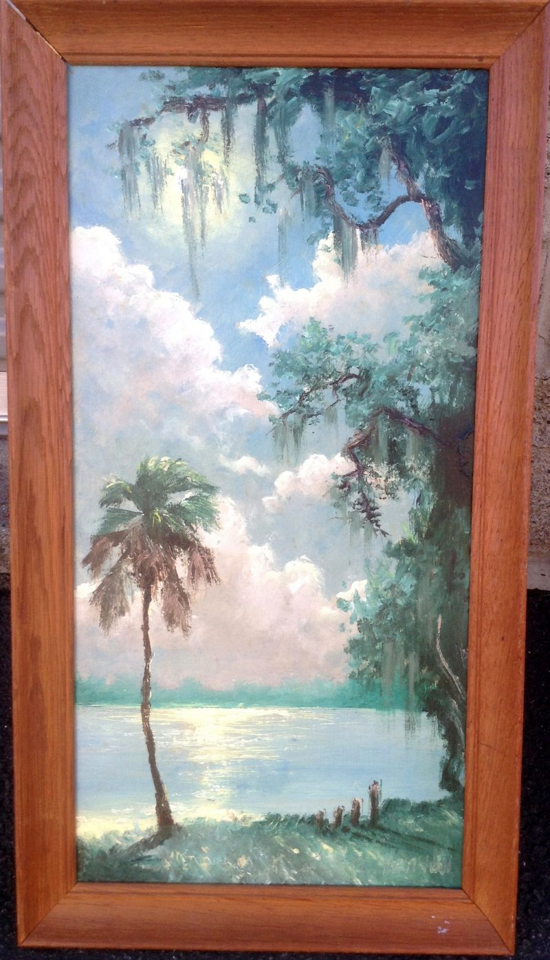 Lemuel 'Lem' Newton (1950-2014), Palms By Indina River #2, Oil On Masonite, 30 X 61cm (Image) 45 X 76cm (Framed), 1990, Signed.