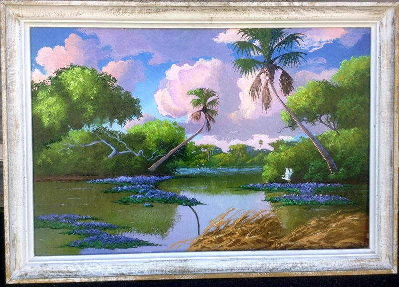 Livingston 'Castro' Roberts (1941-2004), Tranquil Everglades, Oil On Masonite, 61 X 92cm (Image) 80 X 111cm (Framed), 1998, Signed.