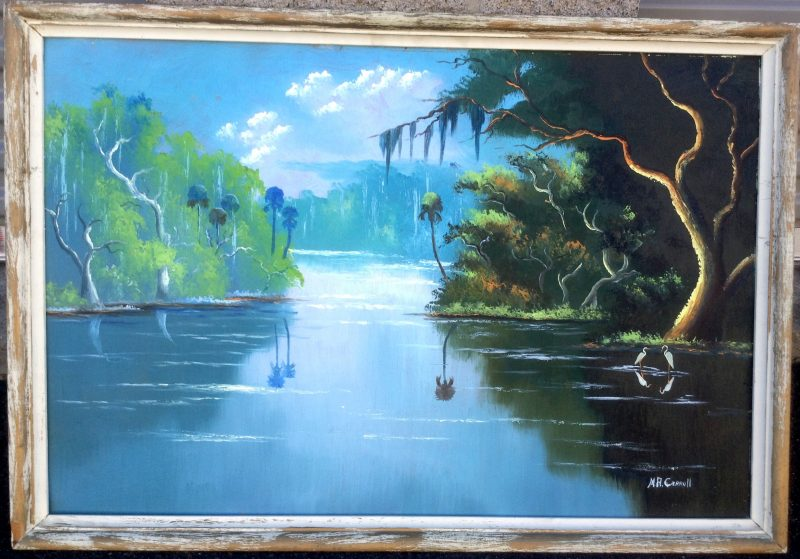 Mary Ann Carroll (Born 1940), Calm Waters On The Tomoka River, Oil on Epson Board, 61 X 92cm (Image), 81 X 112cm (Framed), 1966, Signed.