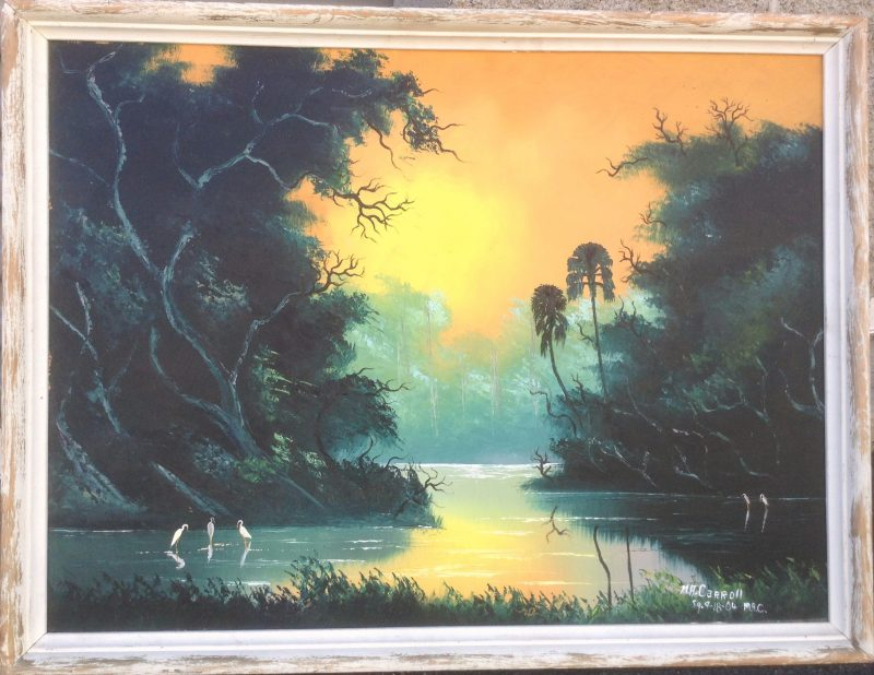 Mary Ann Carroll (1940), River Sunset, Oil On Upson Board, 61 X 82cm (Image) 78 X 99cm (Framed), 1968, Signed, Loan To Art In The Embassies.