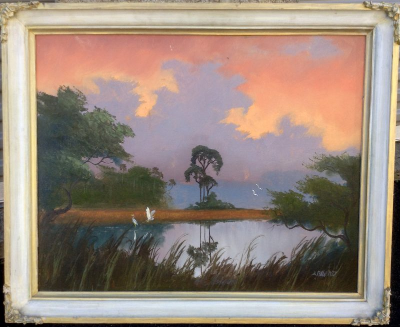 Livingston Roberts (1941-2004), Tranquil Everglades Sunset, Oil On Upson Board, 61 X 76cm (Image), 81 X 96cm (Framed), 1968, Signed.