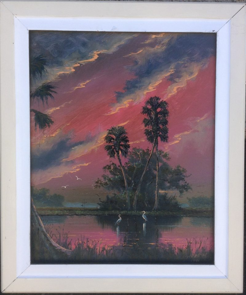 Sam Newton (Born 1948), Crimson Fire Sky, Oil On Masonite, 41 X 51cm (Image), 61 X 71cm (Framed), 1989, Signed.