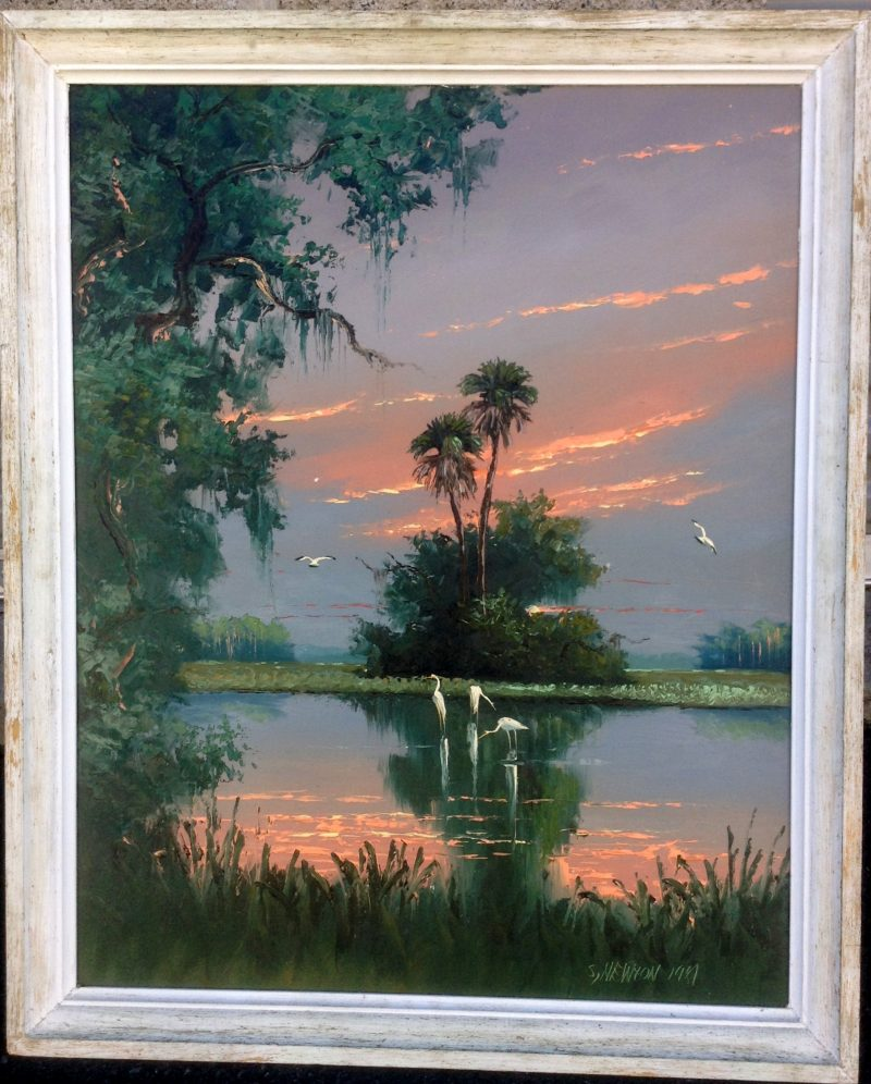 Sam Newton (Born 1948), Firesky Everglades, Oil On Upson Board, 61 X 76cm (Image), 81 X 96cm (Framed), 1973, Signed. On Loan To Art In Embassies.