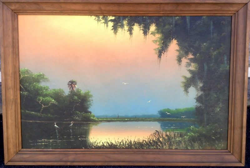 Sam Newton (Born 1948), Lazy River Sunset, Oil On Upson Board, 61 X 92cm, (Image), 81 X 112cm (Framed), 1978, Signed.