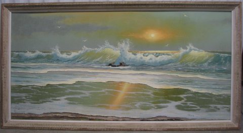 Sam Newton (Born 1948), Sunrise Surf, Oil On Upson Board, 61 X 122cm (Image), 81 X 142cm (Framed), 1978, Signed.