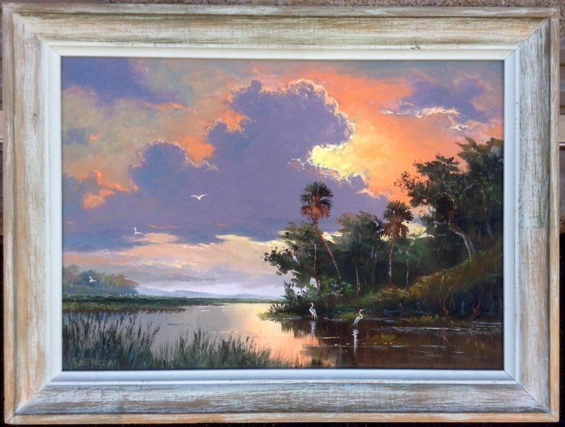 Sam Newton (Born 1948), Glowing Sunset, Oil On Masonite, 46 X 61cm (Image), 65 X 80cm (Framed), 1998, Signed.