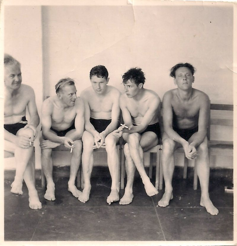 Bathers, Artist Unknown, Black and White Photograph, Digital Print, 1950s, 2 x 2 inches, Printed on 8x10 inches phtoo paper. $45.