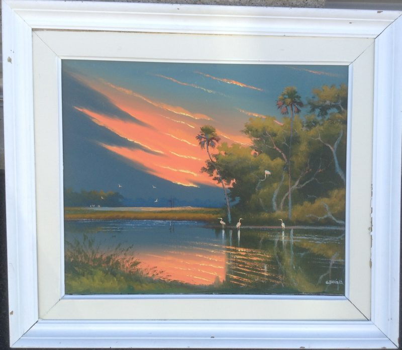 Willie Daniels (Born 1950), Fire Sky Sunset, Oil On Canvas, 46 X 61cm (Image), 66 X 81cm (Framed), 1999, Signed.