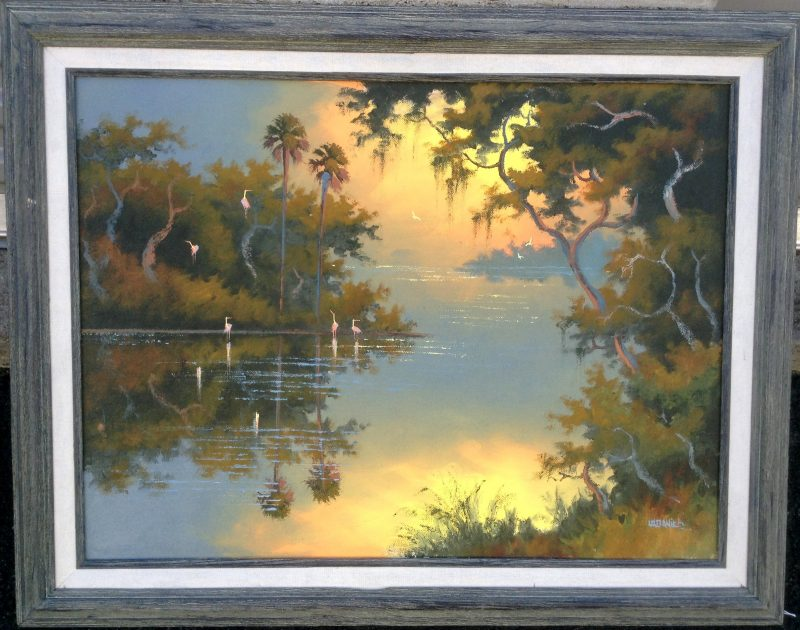 Willie Daniels (Born 1950), Sunset Mirrored River Bend, Oil On Canvas, 46 X 61cm (Image), 65 x 80cm (Framed), 1998, Signed. On Loan To 'Art In Embassies'.