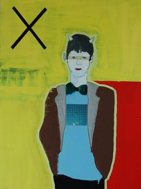 Karl Goertzen (October 7, 1971 - November 12, 2012), 'Thank God I am A Schizo' - Acrylic on canvas, 36 x 48 inches, $1,000