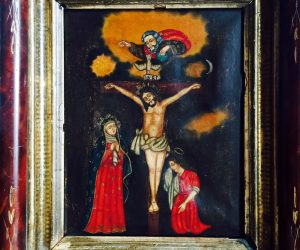 Antique Religious Painting Holy Crucifixion