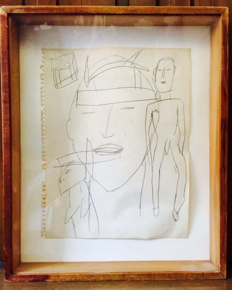 James Brown (1952), Pencil on Paper, Framed in Found Shadowbox.