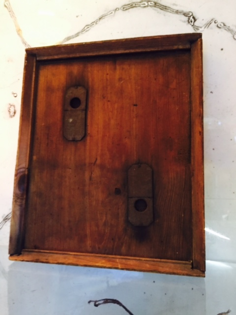 Antique Queen Bee Transport Drawer, with two compartments. Front view.