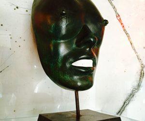Unique 1979 Bronze Sculpture Breast Mask