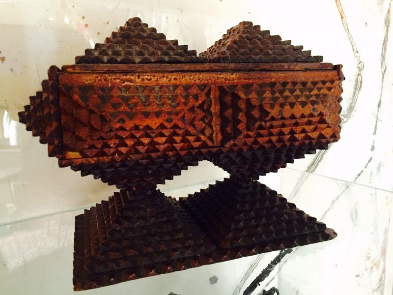 Impressive Deeply Layered Tramp Art Pyramidal Jewellery Box with Removable Matching Wood Lid.