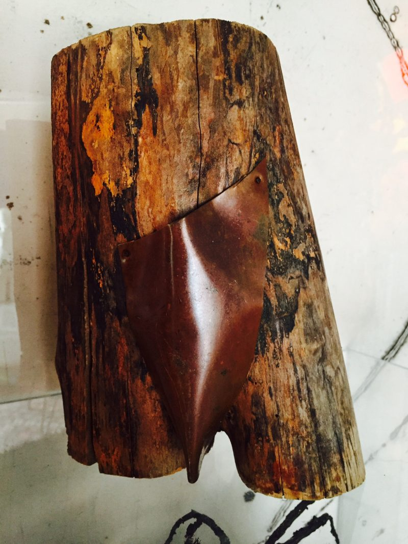 Anonymous Found Wood Sculpture, depicting lower body with Copper 'Loin Cloth'. Back View.
