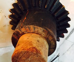 Antique Industrial Wooden Gear Cog Foundry Mold.