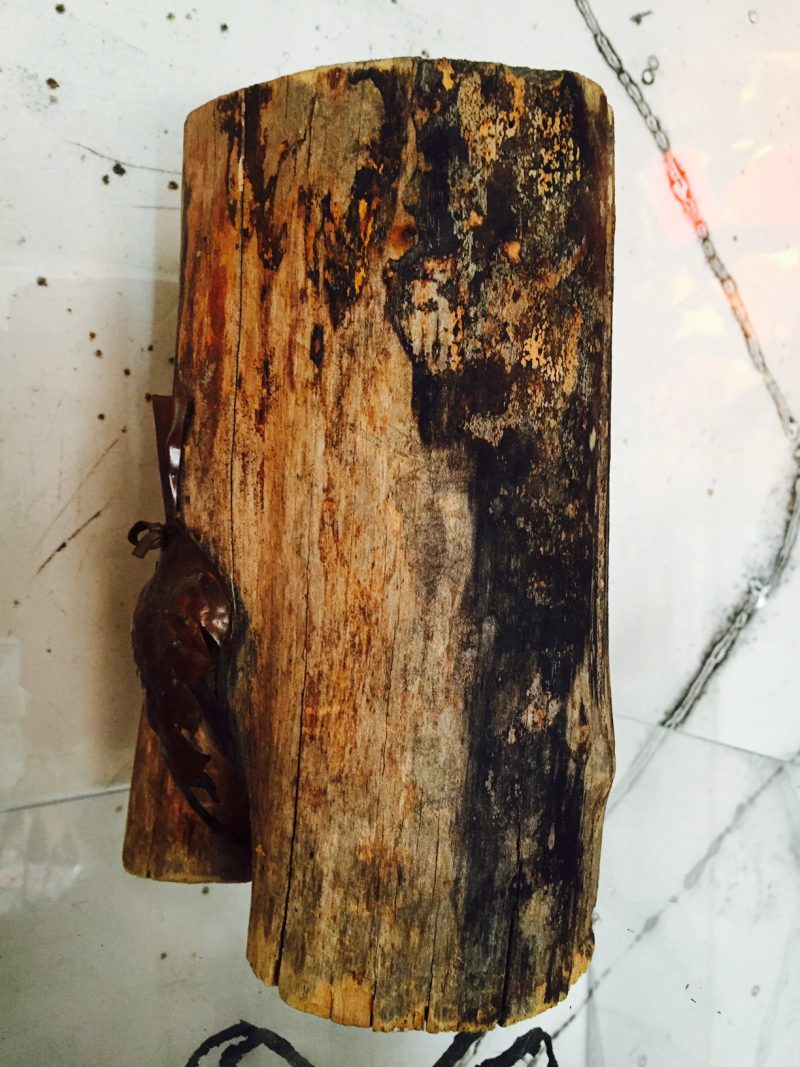 Anonymous Found Wood Sculpture, depicting lower body with Copper 'Loin Cloth'. Side View.