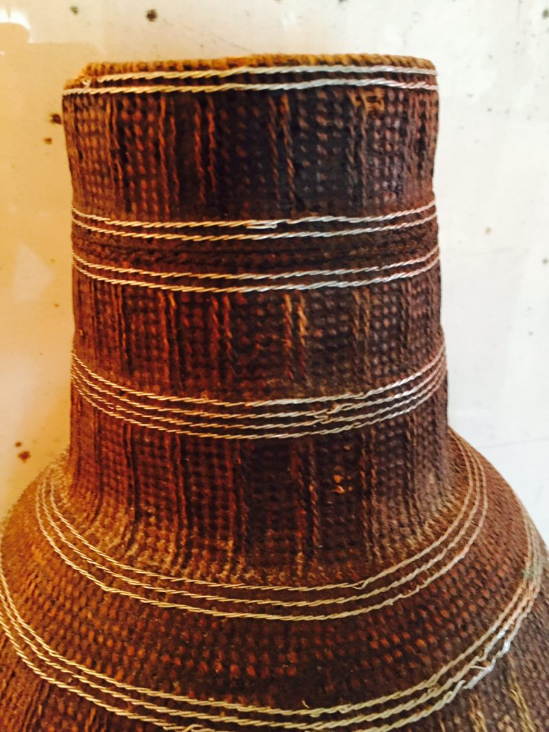 Vintage African Woven Container with Lid