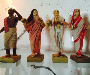 Set of Four Antique India Clay Sculpture