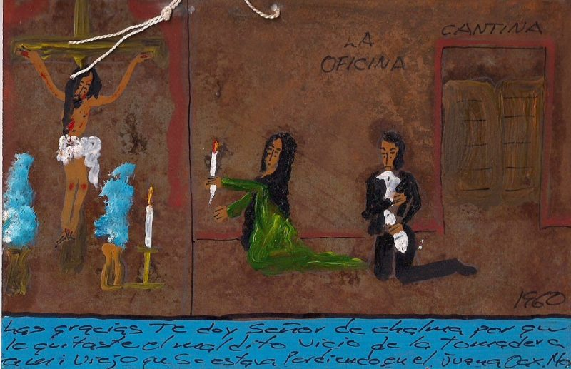 Original Religious Painting on metal / tin. Approx. 1960's Hand painted. Mexican Folk Art everyday life & chaos, with Religious Figures watching over them. Comes with small string at top for hanging on wall. Spanish message handwritten at bottom. Measures 4 x 6 inches. $150.