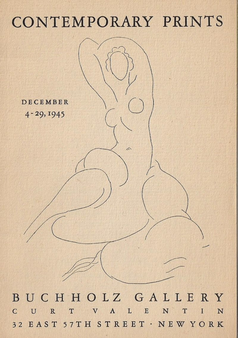 Exhibition Catalogue entitled 'Contemporary Prints, December 2-29, 1945. Buchholz Gallery, Curt Valentin, 32 East 57th Street, New York'.
