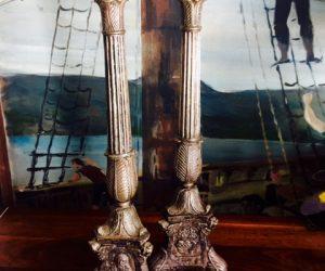 Antique Pair Silver Church Candlesticks