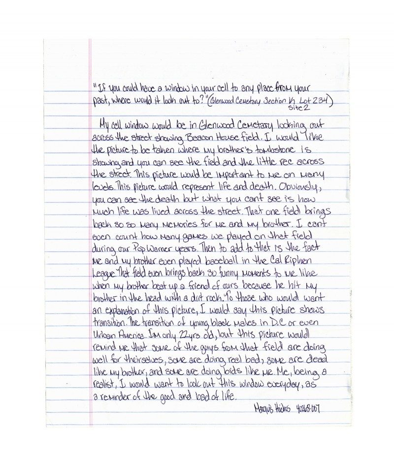 Response letter from an inmate. Windows From Prison Project. Mark Strandquist. Image courtesy of La Petite Mort Gallery.