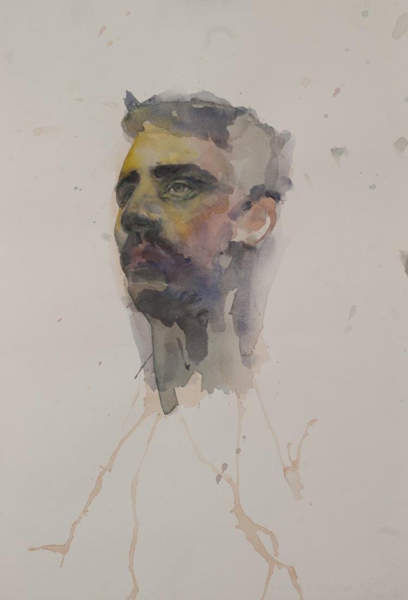 Andrew Moncrief, Study - Self-portrait #2, Watercolour on Paper, 14 x 10 inches (35cm x 25) 2013,  $400. Unframed.