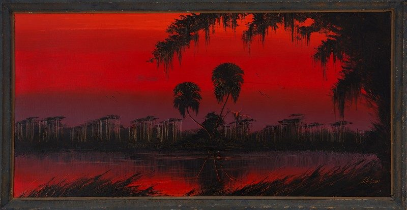 James Gibson (Born 1938), Devil Sky, Oil on Upson Board, 61x122cm (Image) 69x130cm (Framed), 1967, Signed.
