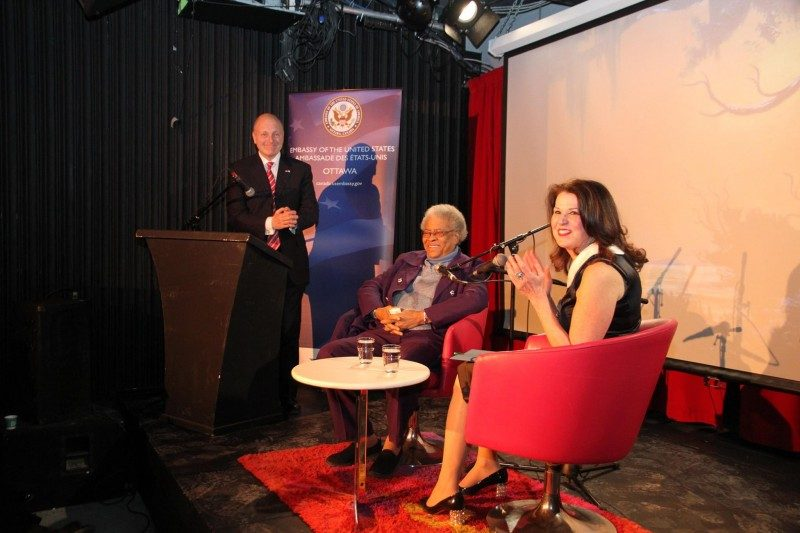 Mrs. Vicki Heyman, artist Mary Ann Carroll, and United States Ambassador to Canada Bruce Heyman at the opening event of The Florida Highwaymen exhibit. Photo courtesy of the US Embassy of Ottawa.