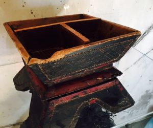 Antique Wooden Asian Bowl with base