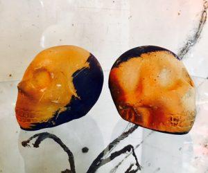 Pair Ceramic Skulls Mexico